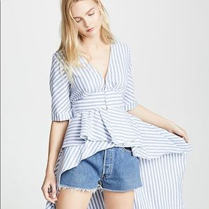 English Factory   Blue & White Stripe High Low Top